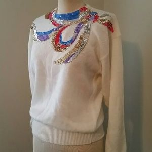 3ac3cd2d9f047d Vuntage 80 s White Beaded   Sequined Bow Sweater